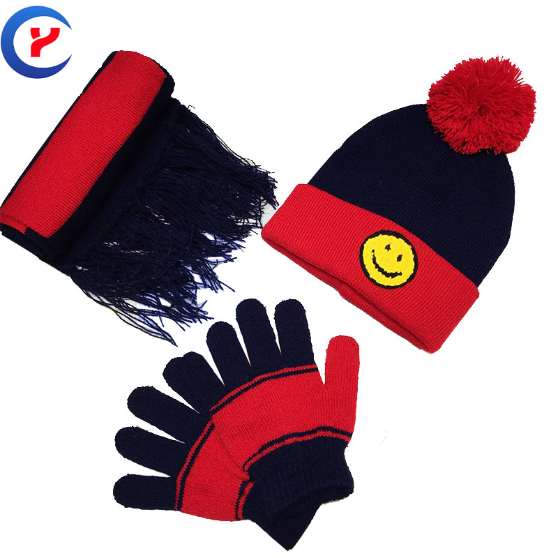 2017 Creative Fashion Gift One Set For children Winter Warm Knit Hood Fashion Scarf gloves Jacquard Knitted hat set #161107_x96