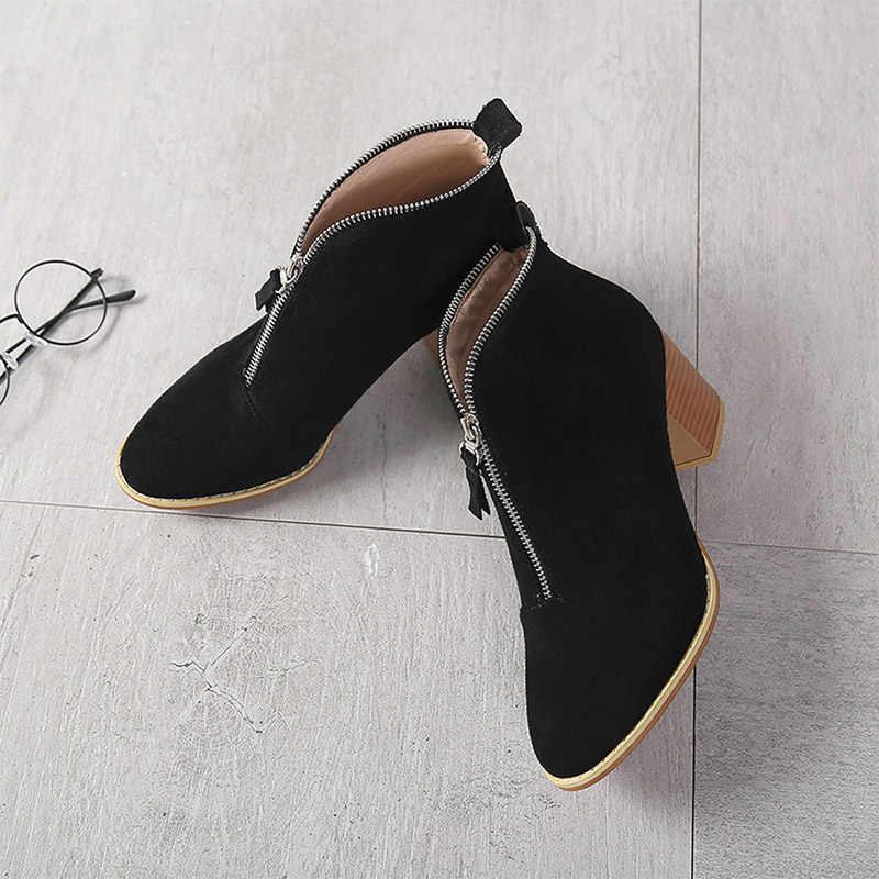 ผู้หญิงฤดูใบไม้ผลิรองเท้าข้อเท้าย้อนยุค Leopard Zipper Suede รองเท้าเย็บรองเท้าสั้นของแข็งหญิง Casual Vintage สแควร์ส้น