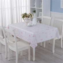 Romantic Cherry Blossoms PVC Tablecloth Waterproof Oil Proof Disposable  Soft Glass Table Mat Table Cloth Pad Home Decoration