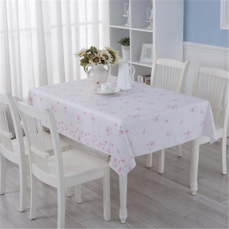 Romantic Cherry Blossoms PVC Tablecloth Waterproof Oil Proof Disposable  Soft Glass Table Mat Table Cloth