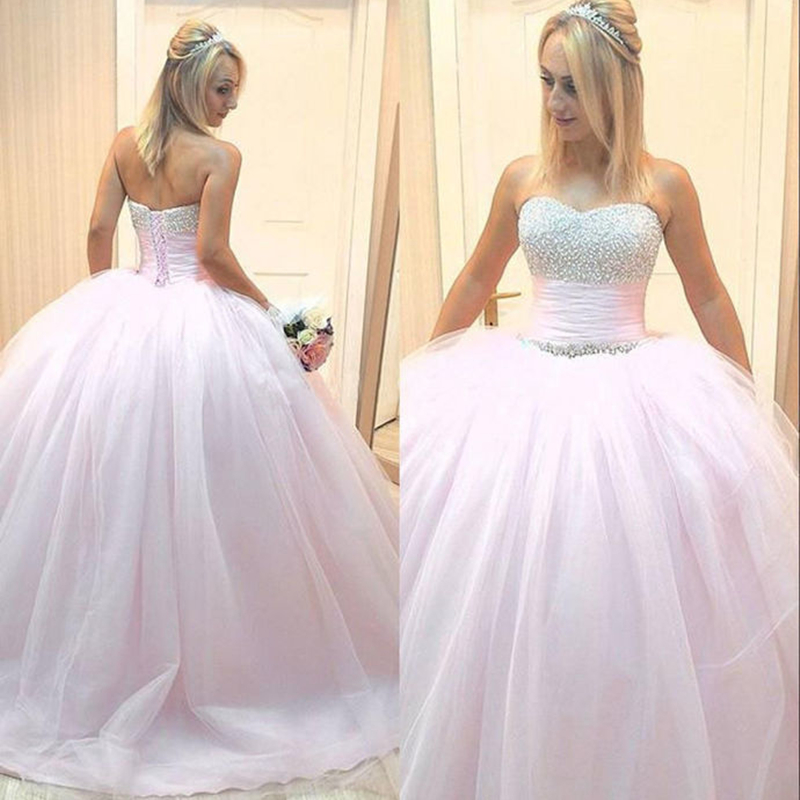 Sweetheart Long Prom Dresses Ball Gown Sleeveless Pearls Open Back Lace Up Back Evening Formal Party Dress Vestido De Fiesta