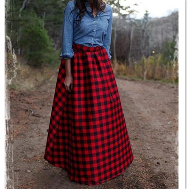 Winter Long Maxi Vintage Red Plaid Wool Warm Women Skirt High Waist 6XL 7XL Plus Size England Style Fashion Runway Fall Skirt