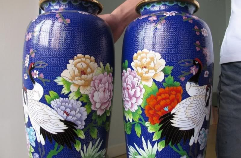 Chinese Palace Copper Gild cloisonne red crowned crane Jar pot vase Pair 8.02 chinese palace pure bronze copper auspicious dragon phoenix pot bottle vase pair