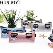 GUNUOYI Women Makeup Bag Fashion Cosmetic Bag Luxury Brand Blink Eyes Waterproof Multifunctional Pencil Case Phone Package ZY-01