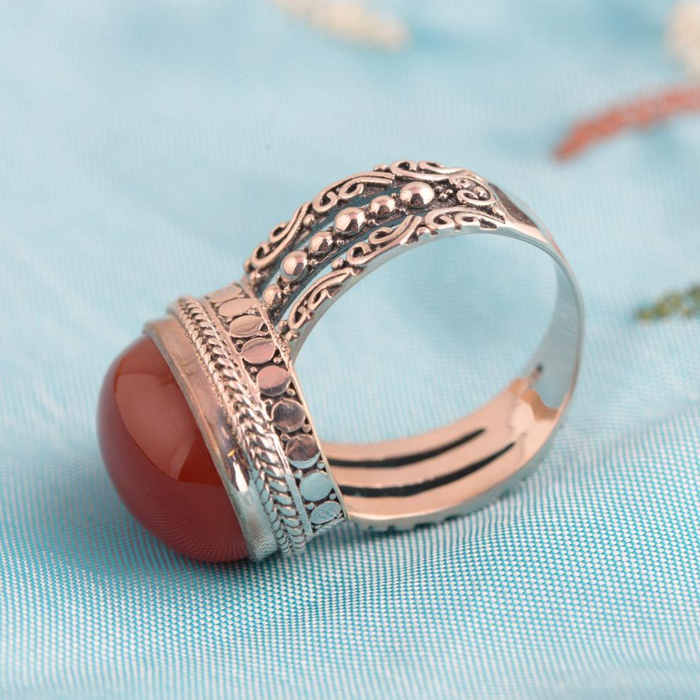 Image 4 - Red Agate Ring 925 Sterling Silver Vintage Thai Silver Oval 