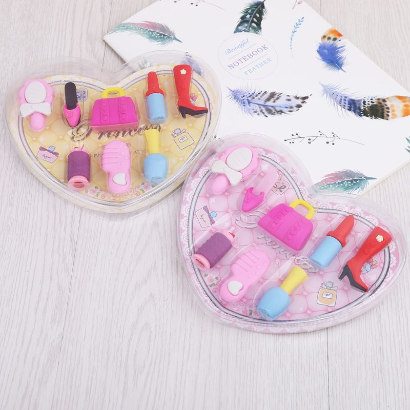 8pcs/set Girl Cosmetics Pencil Eraser Heart Gift Box Stationery School Supplies