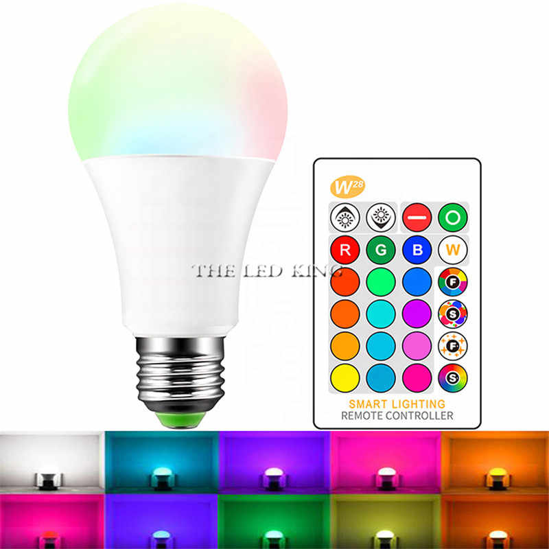 E27 LED 16 Warna Berubah RGB Magic Light Bulb Lamp 3W AC85-265V 110V 220V Lampada Lampu LED lampu Sorot + IR Remote Control
