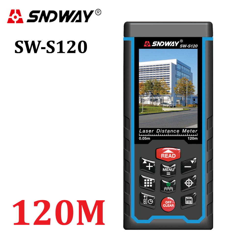 Color Display Rechargeable 120m Laser Distance Meter SW S120 Rangefinder Tape With Bubble Level Measure Area