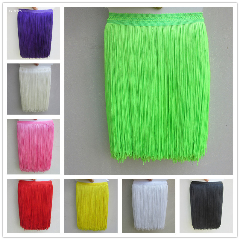YY-tesco 1Yards 30cm Wide Lace Fringe Trim Tassel Fringe Trimming For DIY Latin Dress Stage Clothes Accessories Lace Ribbon