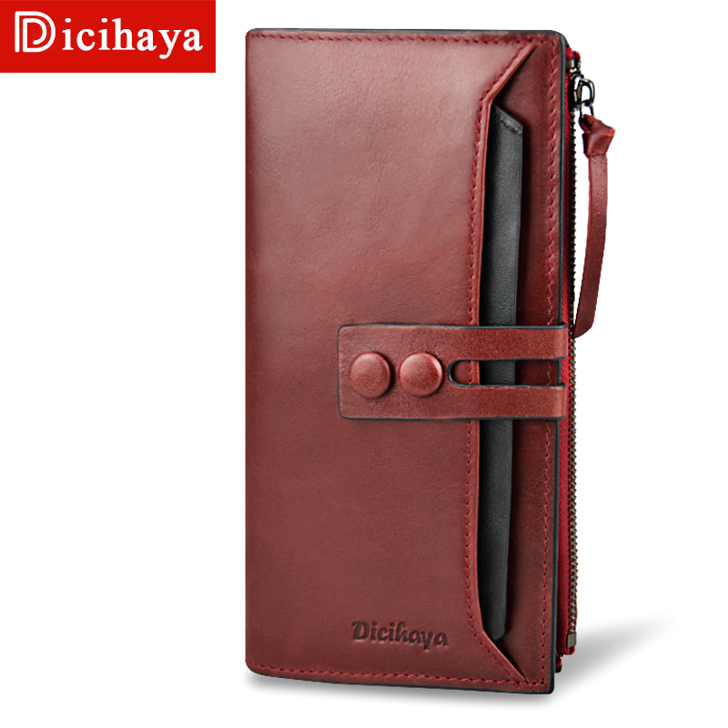 DICIHAYA 2018 Top Quality 100% Genuine Leather Long Women Wallet Fashion Clasp Purse Money Coin Card Holders Wallets Phone Bag 2017 hot sale lovely leather long women wallet fashion girls change clasp purse money coin card holders wallets carteras