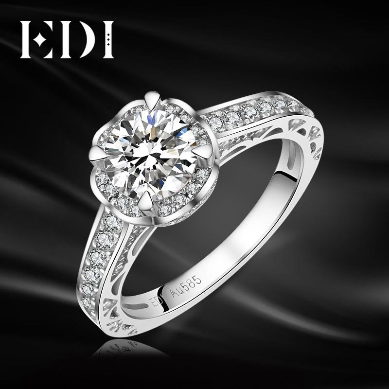 EDI Classic Moissanites Diamond Halo 14k 585 White Gold Wedding Rings Engagement Bands Fine Jewelry small gtpases in disease part b 439