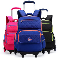 3 Colors School Backpack For Girls And Boy With Wheel Trolley School Bags Wheel Kid Luggage