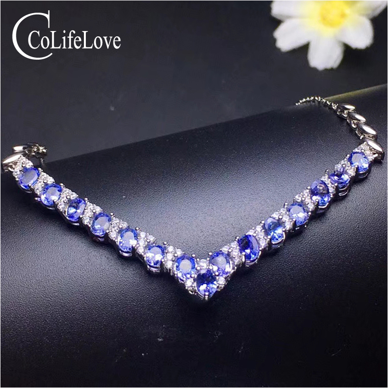 100 natural tanzanite necklace for wedding 15 pcs 3 mm 4 mm tanzanite silver necklace 925
