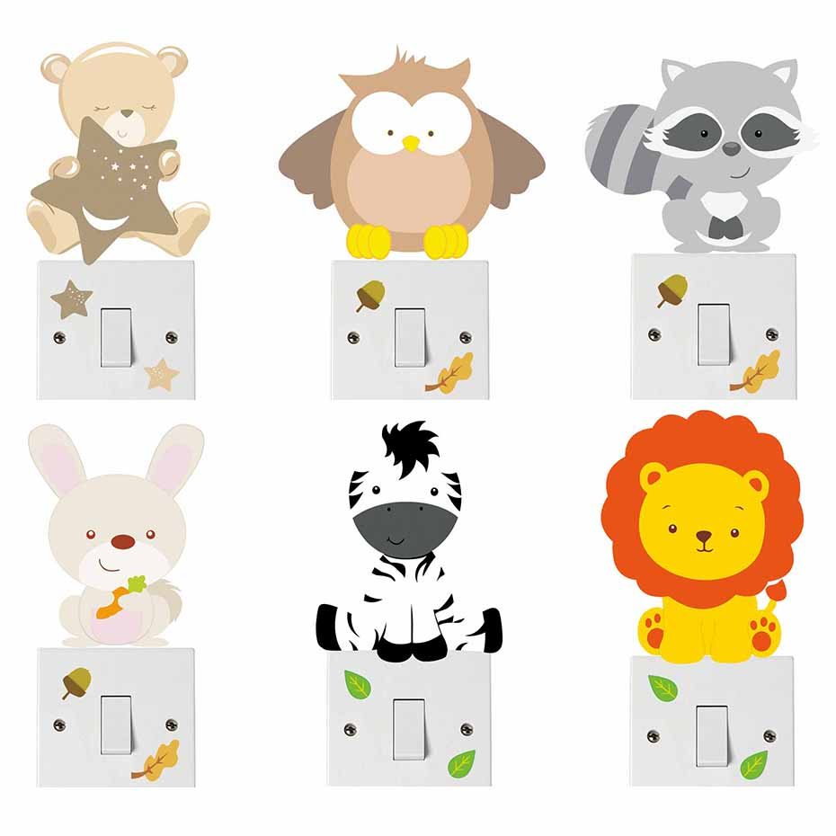 Zebra Print Pattern Light Switch Sticker Cartoon Animal Vinyl Wall Art Stickers