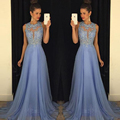 Sexy O Neck A Line Chiffon Lace Beaded Lavender Long Bridesmaid Dresses 2017 Backless Court Train robe de soiree Dresses