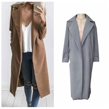 Fashion Winter Coat Women 2016 Woollen Blend Coat Oversize Women Black Long Trench Coat Femininos Grey Coat Wool Poncho