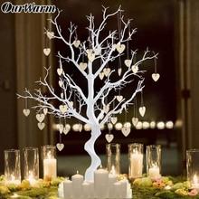 Ourwarm 웨딩 센터 피스 시뮬레이션 된 나무 나무 심장 교수형 게스트 서명 파티 호의 diy 소박한 웨딩 장식