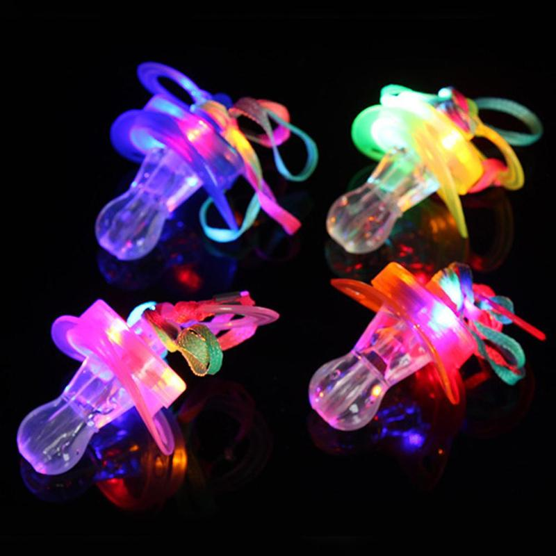 Cute Children Pacifier LED Light Flashing Whistle Colorful Necklaces Nipple Kids Toy For Christmas Bar Party Supplies Toy Random