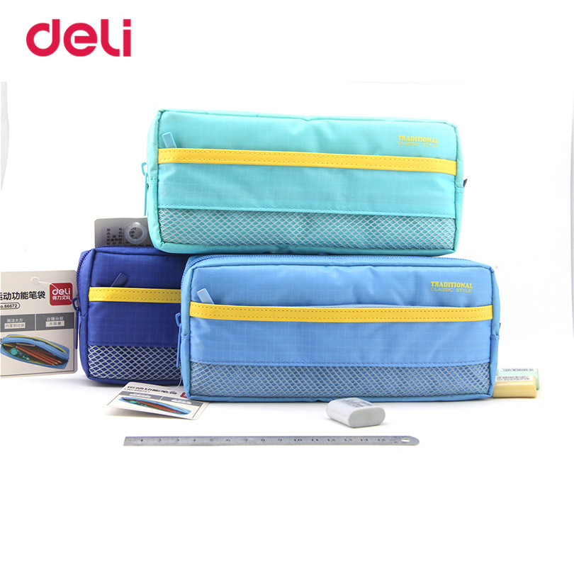 Deli Stationery pencil case 2017 Solid Fashion Children Pencil bag for School&Office Supply For Kids Student 3 Colors Pencil bag mechanical pencil for drawing writing painting office school supplies correct posture for kids student children