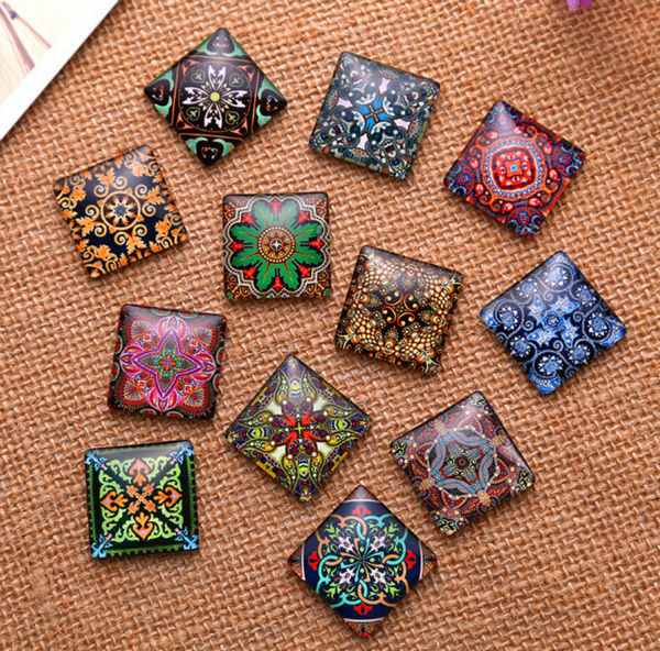 48pcs 10mm Decorative pattern a square Handmade Photo Glass Cabochons & Glass Dome Cover Pendant Cameo Settings decorative pillowcase chic towers pattern square comfy cushion cover