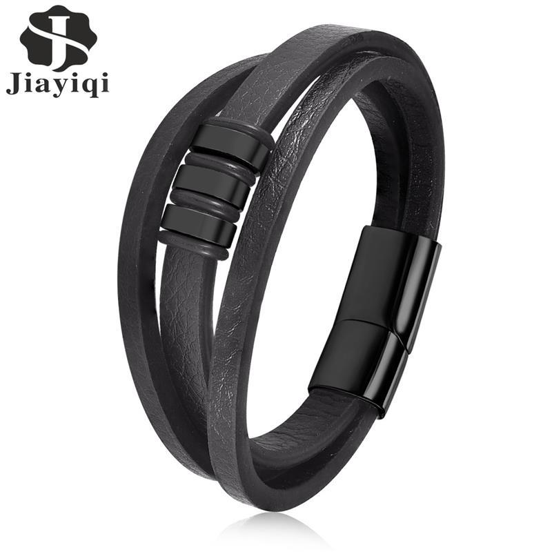 Jiayiqi Punk Multilayer Braided Leather Charm Bracelet For Men Stainless Steel Magnetic Clasp Fashion Bangles Male Jewelry jiayiqi fashion multilayer genuine leather bracelet for men jewelry stainless steel bangle punk braid black brown chain magnetic