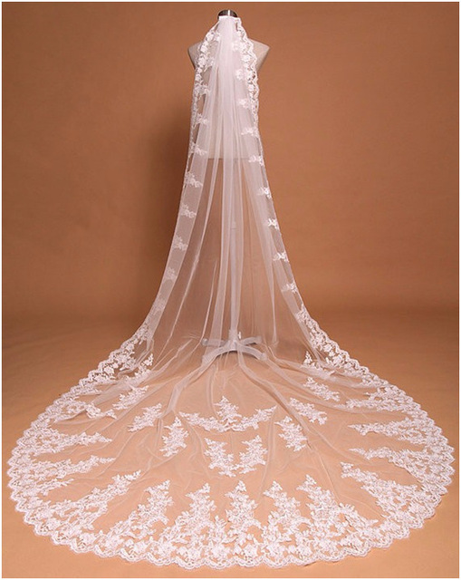 Honey Qiao 3 Meters Wedding Veils 2016 New Cathedral Wedding Veil One Layer Lace Appliques Bridal Veil Lace Edge Long Hot Sale