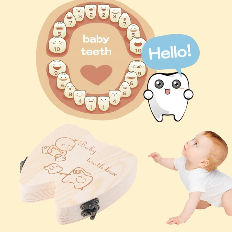 Baby Tooth Box Spanish/English/Dutch/Russian/French /Italian Wooden Milk Teeth Organizer Storage Boys Girls Baby Souvenirs Gift