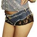 2017 calças de Brim Novas Rendas das Mulheres Hot Shorts Nightclub Magro Mini Shorts das Mulheres Cintura Baixa Mulheres Sexy Shorts Jeans, CB045