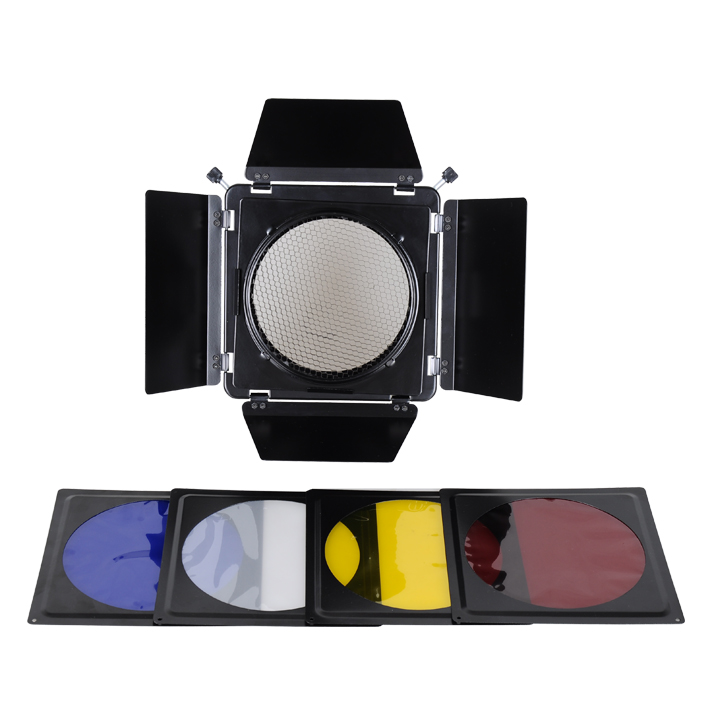 ФОТО Studio Flash Accessories NICEFOTO SN-02 Barn Door Filter Kits with 200mm Mount include 4pcs Color Filters Fitting Bowens mount