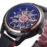 Latest WINNER Fashion Men Auto Mechanical Watch Dual Tone Black Rose Gold Genuine Leather Strap Skeleton