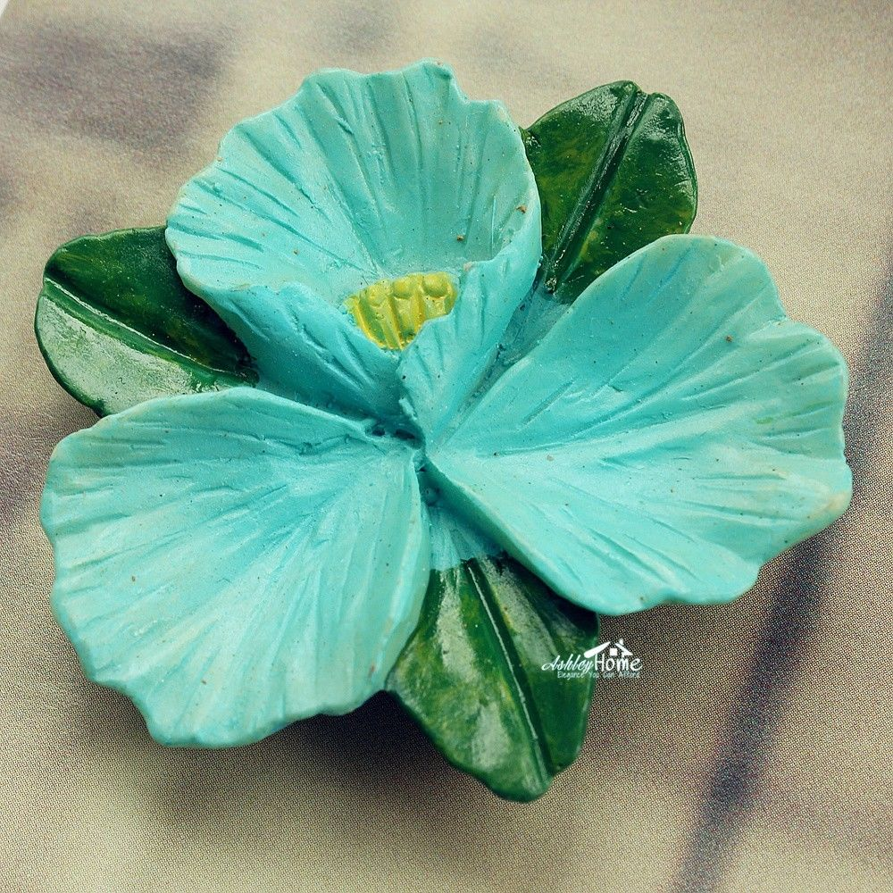 Lovely Skyblue Hibiscus Flower 3d Resin Decorative Fridge Magnet