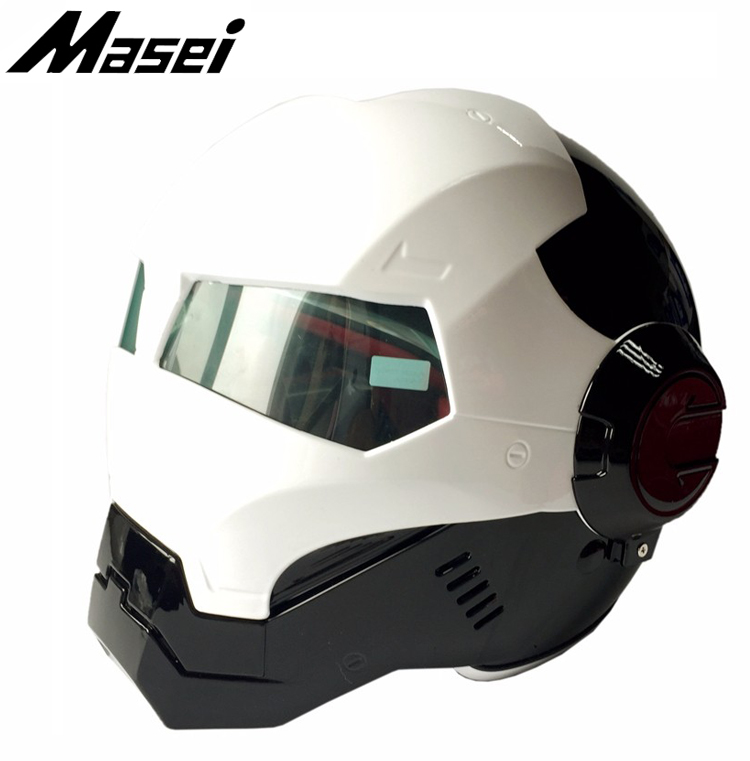 Masei 610 ironman motorcycle helmet Vintage Open Face motor bike helmet Black White Color