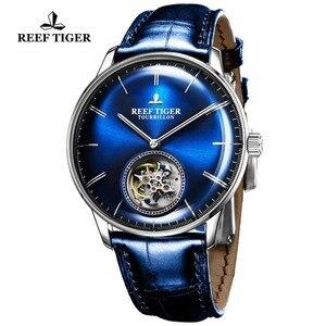 Image 2 - Reef Tiger/RT สีฟ้า Tourbillon นาฬิกาผู้ชายอัตโนมัติ Mechanical นาฬิกาข้อมือหนังแท้สายหนัง relogio ชาย RGA1930