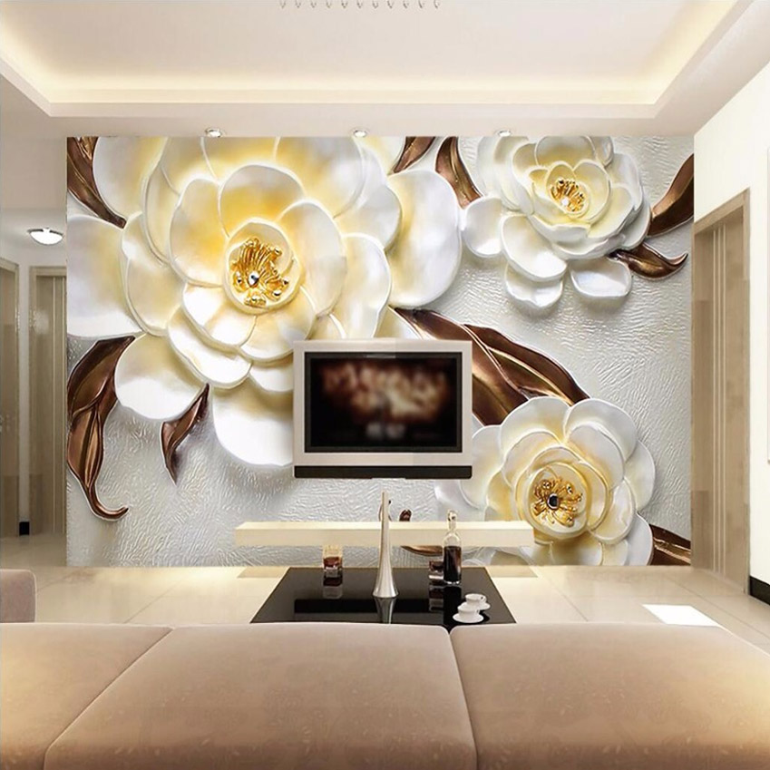 Custom Mural Wallpaper Non-woven 3D Stereoscopic Relief Yellow Flower Bedroom Living Room Sofa TV Background Papel De Parede 3D customized any size european 3d stereoscopic relief mural wallpaper roll living room sofa tv backdrop wallpaper papel de parede