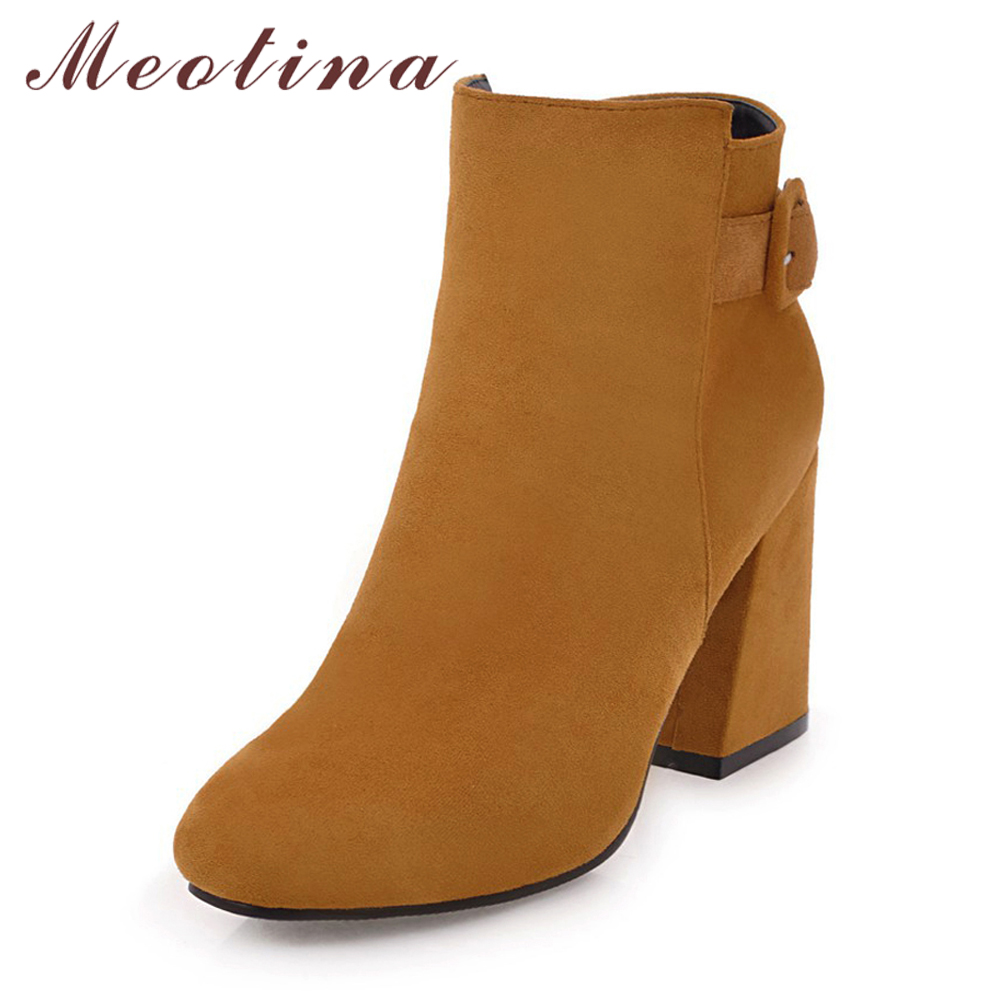 Meotina Women Ankle Boots For Women High Heels Winter Boots Buckle Thick Heels Short Boots 2018 Fashion Zip Brown Big Size 33-43 цена
