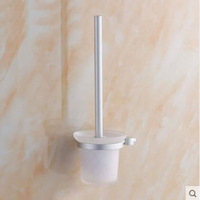 Space Aluminum Toilet Brush Holders Wall Mounted Sliver Toilet Brush Holders Set Toilet Bowl Cleaning Appliance