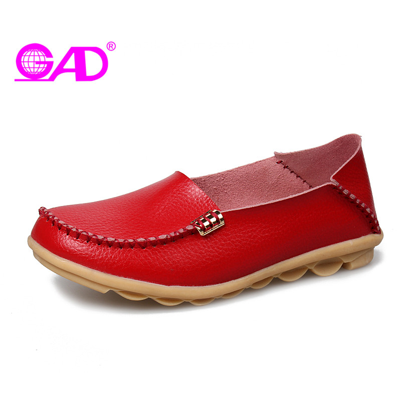 GAD High Quality Split Leather Women Loafers New Arrival Round Toe Slip-on Women Casual Shoes Flat Shoes Women Large Size 35-42 2017 shoes women med heels tassel slip on women pumps solid round toe high quality loafers preppy style lady casual shoes 17