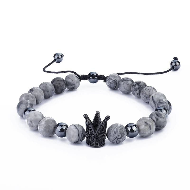 Ourania Rope Crown Stainless Steel bracelet Natural Stone Accessories Jewelry Black fashion men charm