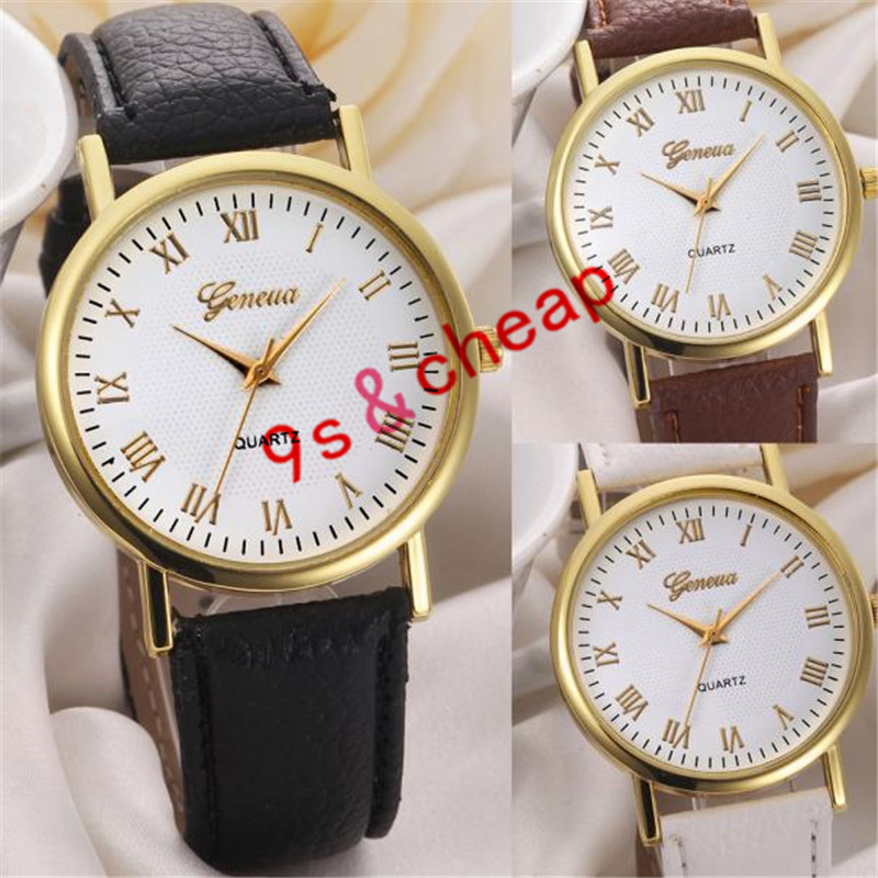 Fashion Unisex Leisure Dial Leather Band Analog Quartz Wrist Watch Free Shipping #210717
