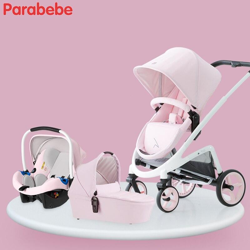 2018 bébé poussette 3 en 1 système de voyage bébé chariot avec couffin bébé landau avec siège de voiture pour bébé nouveau-né poussette pliante enfant