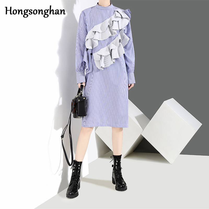 Hongsonghan Women's boyfrien style splicing <font><b>Moschino</b></font> Cheap patch lace trim decoration with O neck long sleeves <font><b>dress</b></font> tide