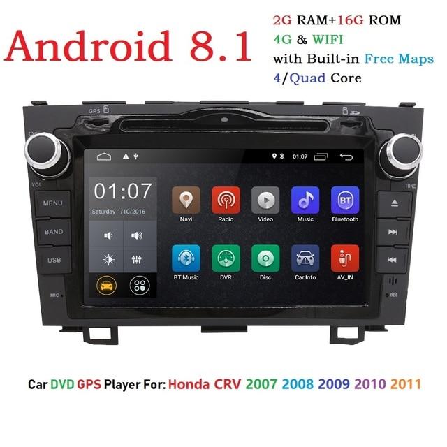 Android 8.1 HD 1024*600 Car DVD Player Radio For Honda CRV 2007-2011 4G WIFI GPS Navigation Head Unit 2 din 2GRAM SWC DVB-T DAB+