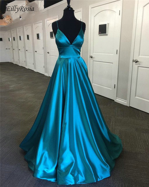 New Arrival Turquoise Prom Dresses 2019 A Line Spaghetti Straps Satin Simple Elegant Party Gowns For Womens Vestidos De Gala