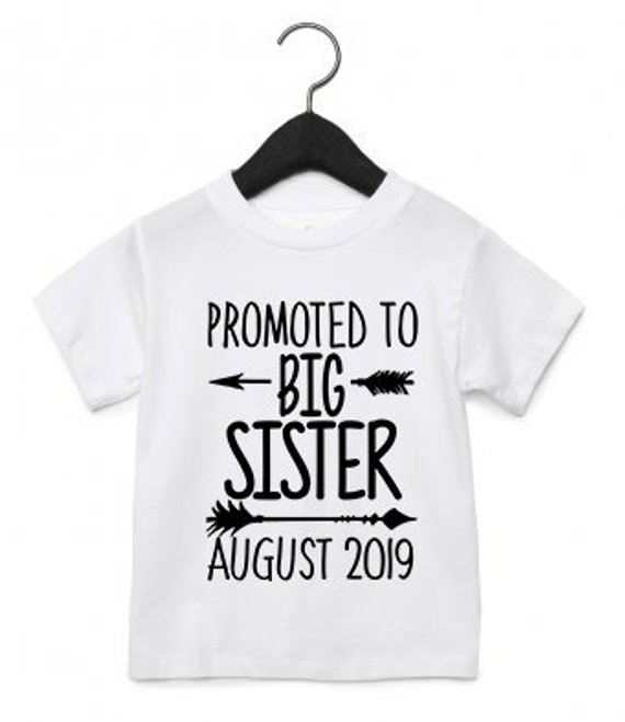 Personalised Promoted to Big Sister t shirt top baby pregnancy announcement