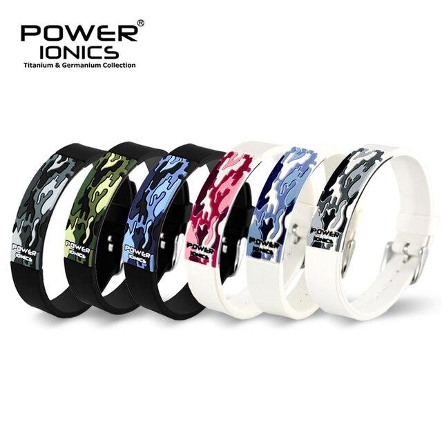 Power Ionics ไทเทเนี่ยม Ion F.I.R 3D Camo สร้อยข้อมือ BALANCE สายรัดข้อมือ Energy PT048