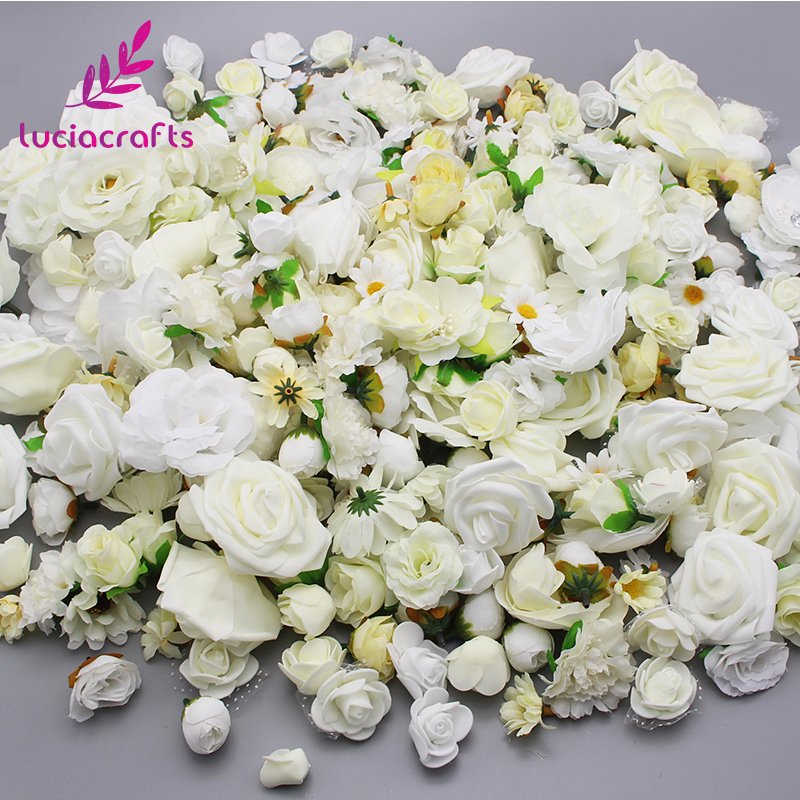 Lucia crafts 50g/lot,Approx 35pcs Random Mixed Size Artificial Flower Head Wedding Party Decoration Materials 027017068