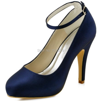 Women Shoes EP11049-IP Navy Blue Teal Bride Bridesmaids Closed Teo High Heel Pumps Ankle Buckles Satin Wedding Bridal Shoes sandal