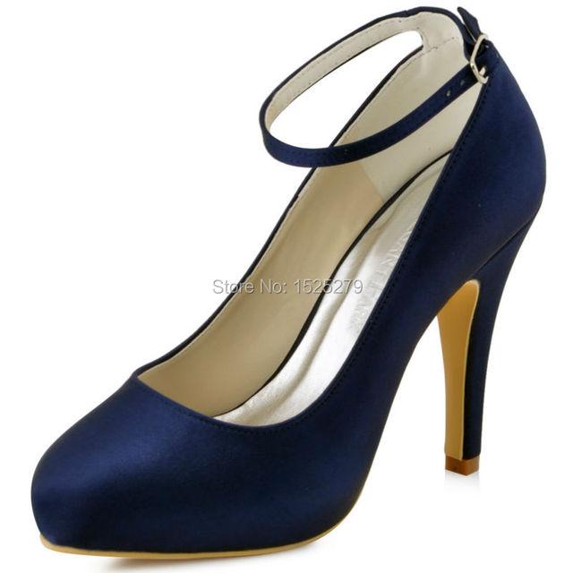 Women Shoes Ep11049 Ip Navy Blue Bride Bridesmaids Closed Toe High Heel Pumps Ankle Strap