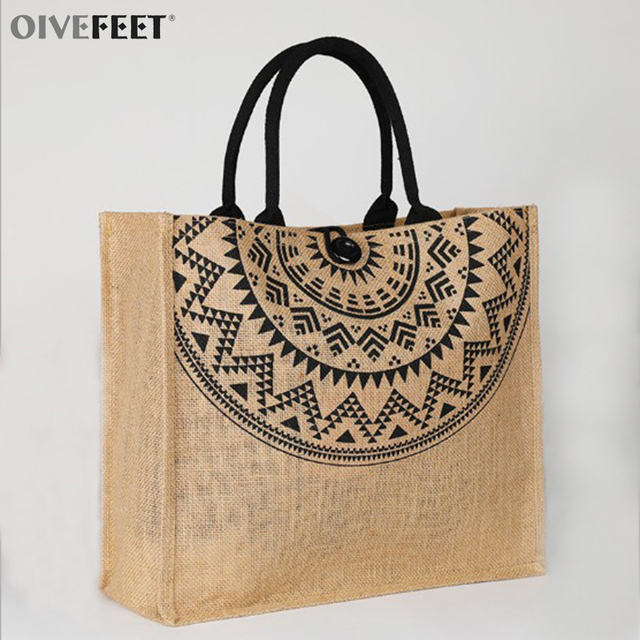 From Bag Lgt001 Bags Printed oivefeet Jute Top Tote In Handle H2ED9WI