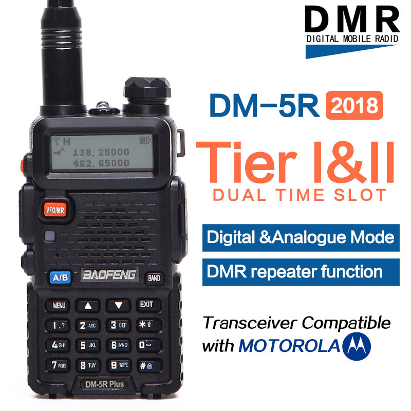 2018 Baofeng DM-5R PLUS DMR Tier I & II Radio Walkie Talkie Digital & Analogue Mode DMR Repeater Function Compatible with Moto